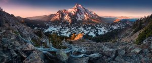 At 10,492 feet high, Mt Jefferson is Oregon's second tallest mountain.Mount Jefferson Wilderness Area, Oregon The snow covered central Oregon Cascade volcano Mount Jefferson rises above a pine forest M